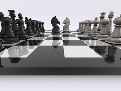 Chessboard with knights face to face - rendered in 3d