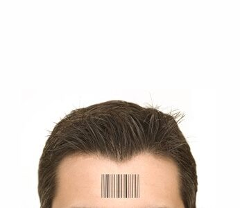 Human Standards - bar code on a man's forehead